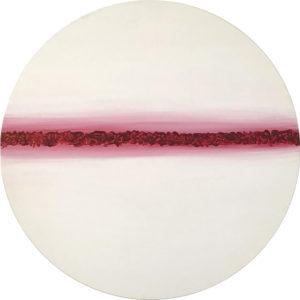 Cuadro con lienzo redondo pintado con pintura acrílica y acuarela y focalizando la obra en la textura. Asymetric Kosmos está incluido en la colección Imperfect Kosmos