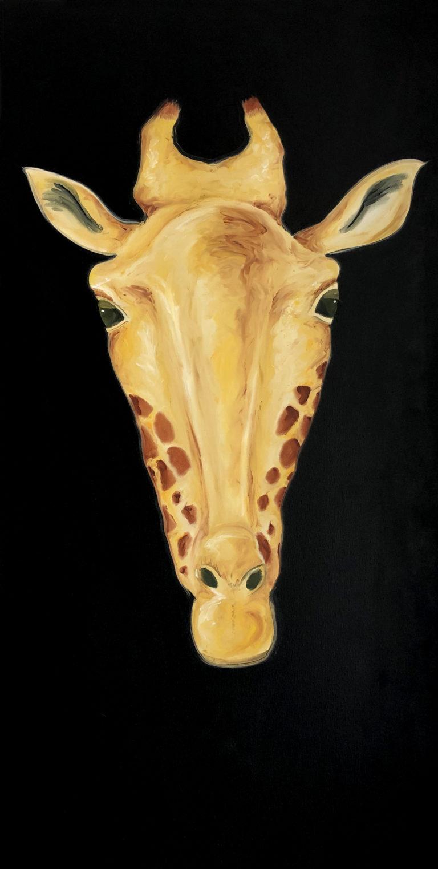 Dodoma. Cuadro al óleo sobre lienzo, representa las cabezas de animales que solían conseguir los antiguos cazadores para colgarlos en sus salones. En esta colección queremos mostrar lo inútil y absurdo de ese propósito, que bien se puede suplir con una de estas pinturas. En este caso mostramos a la jirafa.