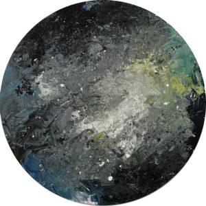 Cuadro con lienzo redondo pintado con pintura acrílica y acuarela y focalizando la obra en la textura. Final Cosmos está incluido en la colección Imperfect Kosmos