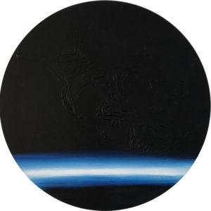 Cuadro con lienzo redondo pintado con pintura acrílica y acuarela y focalizando la obra en la textura. Imperfect Kosmos está incluido en la colección Imperfect Kosmos