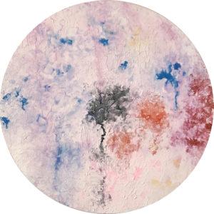 Cuadro con lienzo redondo pintado con pintura acrílica y acuarela y focalizando la obra en la textura. Melted Kosmos está incluido en la colección Imperfect Kosmos