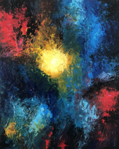 El Rapto I. 80x100 cms. Cuadro pintado en acrílico sobre lienzo. Forma parte de la colección El Rapto. Basado en un fragmento de La Biblia donde Dios resucita a los muertos y a los vivos dignos de El Señor para llevárselos con Él al cielo. Éste cuadro representa lo caótico del mundo motivando así la destrucción del mundo.