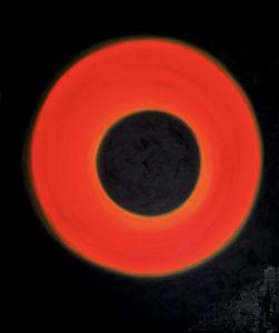 Cuadro en lienzo rectangular pintado con pintura acrílica y acuarela y focalizando la obra en la textura. Eclipse está incluido en la colección Imperfect Kosmos