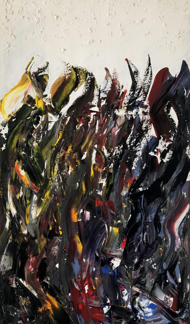 Olas de piedra. Pintura al acrílico sobre lienzo. Incluido en la colección Una Mala Tarde, colección que refleja una conversación entre una pareja que decide dejar la relación. Esta obra muestra los reproches y comentarios fríos que se lanzan a tu amado sin ningún tipo de arrepentimiento.